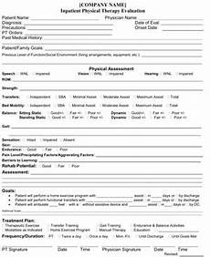 inpatient physical therapy evaluation small business free forms