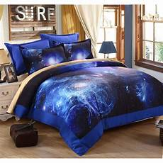 3d universe outer space printed blue galaxy bedding 4pcs quilt bed sheets pillowcases