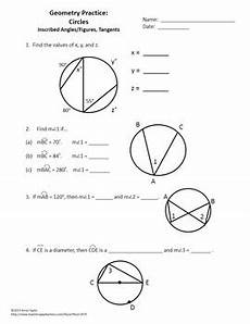 geometry circle worksheets 661 circles tangents arcs inscribed angles printables practice geometry worksheets