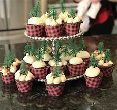 Buffalo Plaid Decorations by Buffalo Plaid Cupcake Wrappers With Evergreen Tree Toppers