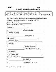 writing complete sentences worksheets 22136 completing sentence fragments worksheet sentence fragments sentences types of sentences