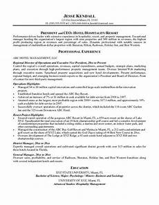 resume objective statement hotel management by resume resume sles sle