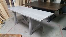 Esstisch Grau Gebeizt - custom distressed grey trestle farmhouse table reclaimed