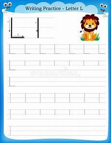 letter l worksheets for kindergarten 23191 writing practice letter l stock vector illustration of 50726537