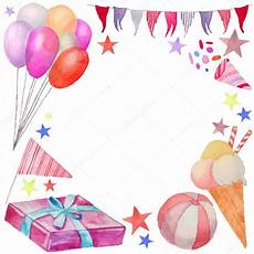 cadre photo anniversaire gratuit cadre aquarelle joyeux anniversaire image vectorielle