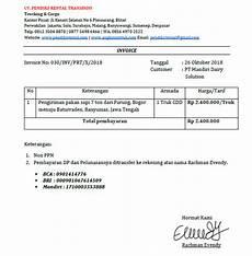contoh invoice jasa rental mobil angkutan travel dan lainnya racheve