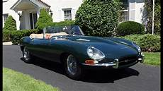 1964 jaguar e type convertible in green with engine start
