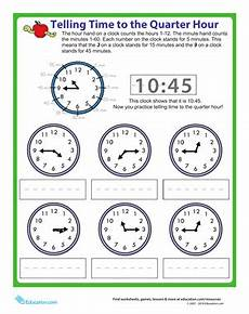 time worksheet quarter to 3155 telling time to the quarter hour worksheet education