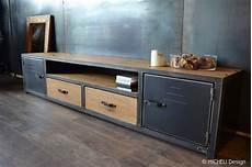meuble tv industriel sur mesure 2 portes 2 tiroirs