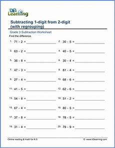 grade 3 math worksheet addition and subtraction grade 3 math worksheet subtract from 2 digit numbers with