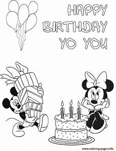 mickey with minnie birthday disney coloring pages printable