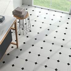 sol pvc damier noir et blanc carrelage sol et mur octogonal 224 cabochon eight white