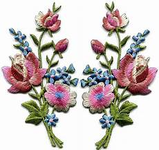 fiori patchwork mauve pink roses pair flowers embroidered appliques iron