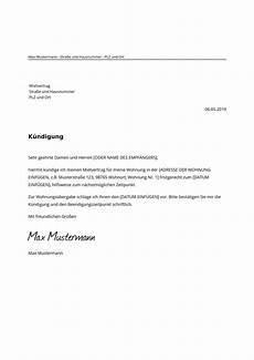kündigungsschreiben wohnung mieter mietvertrag k 252 ndigen muster vorlage zur k 252 ndigung