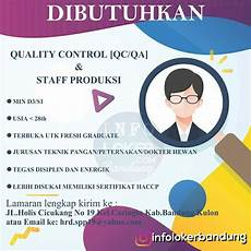 lowongan kerja quality lowongan kerja quality qc qa staff produksi