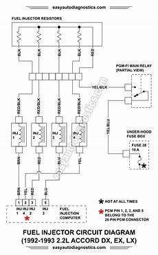 part 1 1992 1993 2 2l honda accord fuel injector circuit wiring diagram