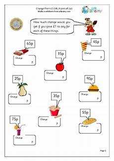 money worksheets change from 50p 2103 change from one pound 2