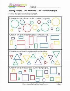 shapes attributes worksheets 1035 sorting shapes two attributes line color and shape a wellspring