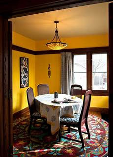 Dining Room Bright Yellow Walls With Beige Ceiling