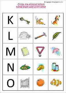 circle the pictures whose names begin with given letter letters k to o estudynotes