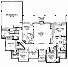 5 bedroom house plans 1 story european house plan with 4 bedrooms and 3 5 baths plan 4474