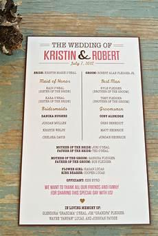 wedding reception program wording ideas rustic wedding program by wideeyespaperco etsy