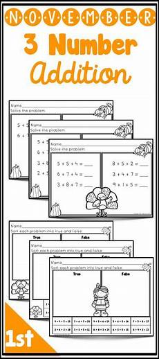 differentiated addition worksheets year 1 9866 freebie differentiated worksheets to teach 3 addend addition thanksgiving november theme