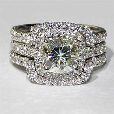 4ct total 3 band wedding nscd sona simulated solitaire
