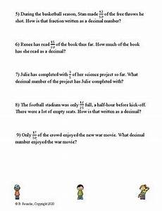 decimal word problems worksheets for grade 5 7546 converting fractions to decimals word problems 4 worksheets tpt