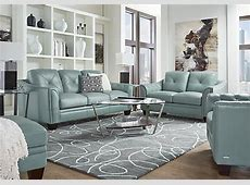 $2,177.00   Marcella Spa Blue Leather 3 Pc Living Room