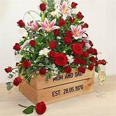 Ruby Wedding Anniversary Flowers personalised crate ruby wedding anniversary by plantabox
