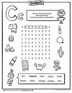 finding letter c worksheets 24054 letter c word find abc activity sheets storybots nathan abc activities letter k