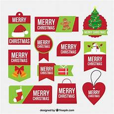 green and merry christmas labels vector free download