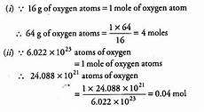 calculate the number of moles for the following cbse