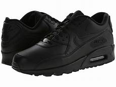 nike air max 90 leather s running shoes all black