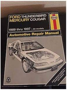 car repair manuals online free 1989 mercury cougar electronic toll collection haynes ford thunderbird mercury cougar 1989 thru 1997 automotive repair manual ebay