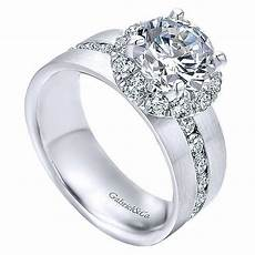18k white gold wide brushed channel set diamond engagement ring mullen jewelers
