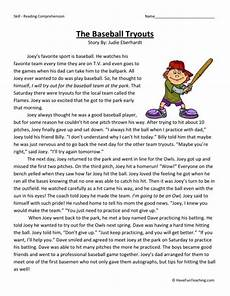 baseball worksheets for 5th grade reading comprehension worksheet the baseball tryouts