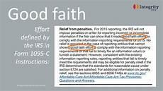 good faith reprieve for 1095 cs no thanks say detail