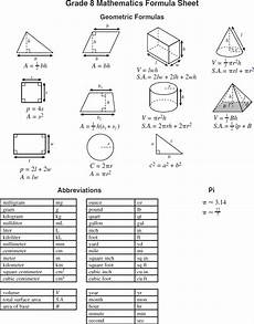 math formulas sheet geometry formula sheet 8th grade math pinterest