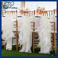 ch010a wholesale cheap chiffon and organza white ruffled wedding chair cover with buckle in