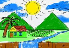 Lukisan Pemandangan Alam Untuk Anak Sd Koleksi Gambar Hd