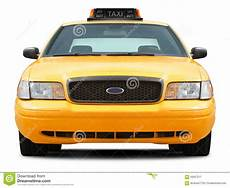 Yellow Taxi Car Front View Stock Image Image Of