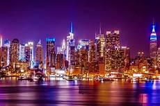 New York City Hudson River Lights Landscape Poster Silk