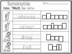 32 synonyms color and writing worksheets kindergarten 1st grade ela