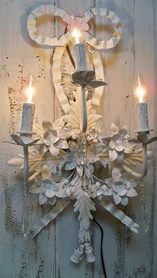 large toleware wall sconce lighting shabby chic metal chalky