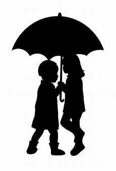 Le Frau Mit Schirm - enfants sous parapluie silouhette dessin pochoir et