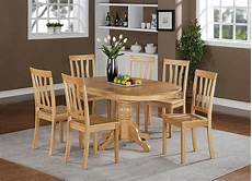 7 pc avon oval kitchen dining table w 6 antique wood seat