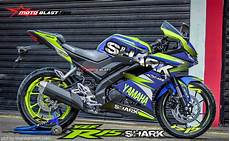 Yamaha R15 Modifikasi Stiker by Modifikasi Striping All New Yamaha R15 Blue Shark Motoblast