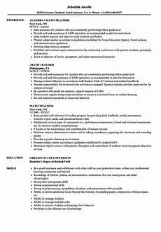 math teacher resume sles velvet